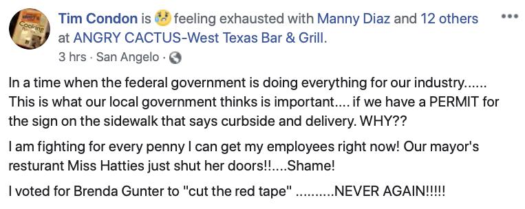 Tim Condon's Facebook Post (Tim Condon)