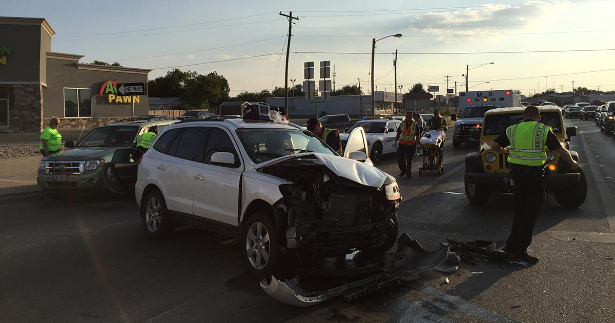 A Corvette and two other vehicles were involved in a crash at the intersection of S. Bryant Blvd and Knickerbocker Rd. on July 23, 2015. (LIVE! Photo/John Basquez)