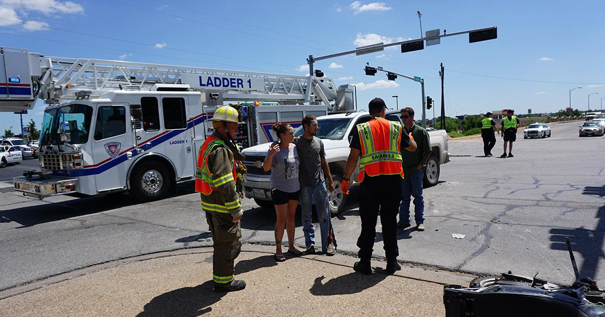 A motorcyclist was down on N. Bryant Sunday afternoon on July 12, 2015. (LIVE! Photo/John Basquez)