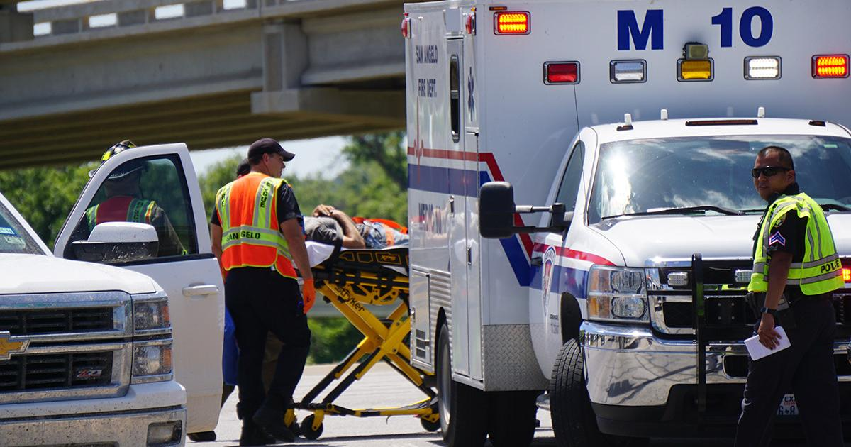 The motorcyclist was first loaded onto a stretcher and taken to the ambulance to get checked out medically. (LIVE! Photo/John Basquez)