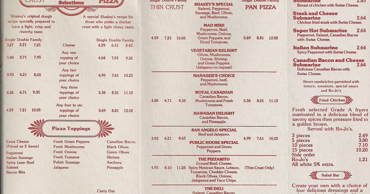 Scott Catron uploaded the Shakey's Pizza menu to Facebook.