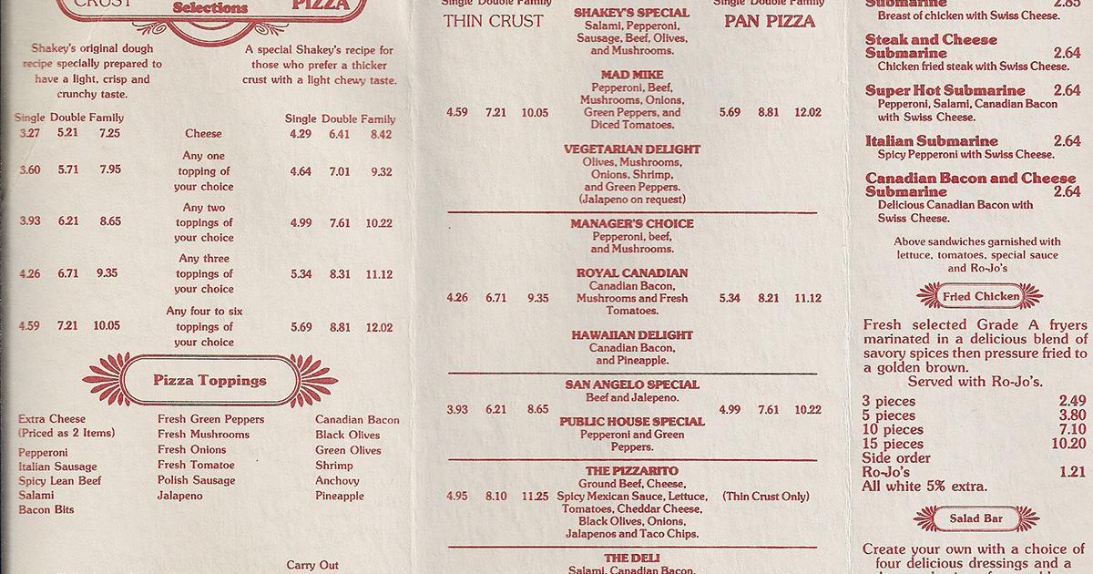 Scott Catron uploaded the Shakey's Pizza menu to Facebook.