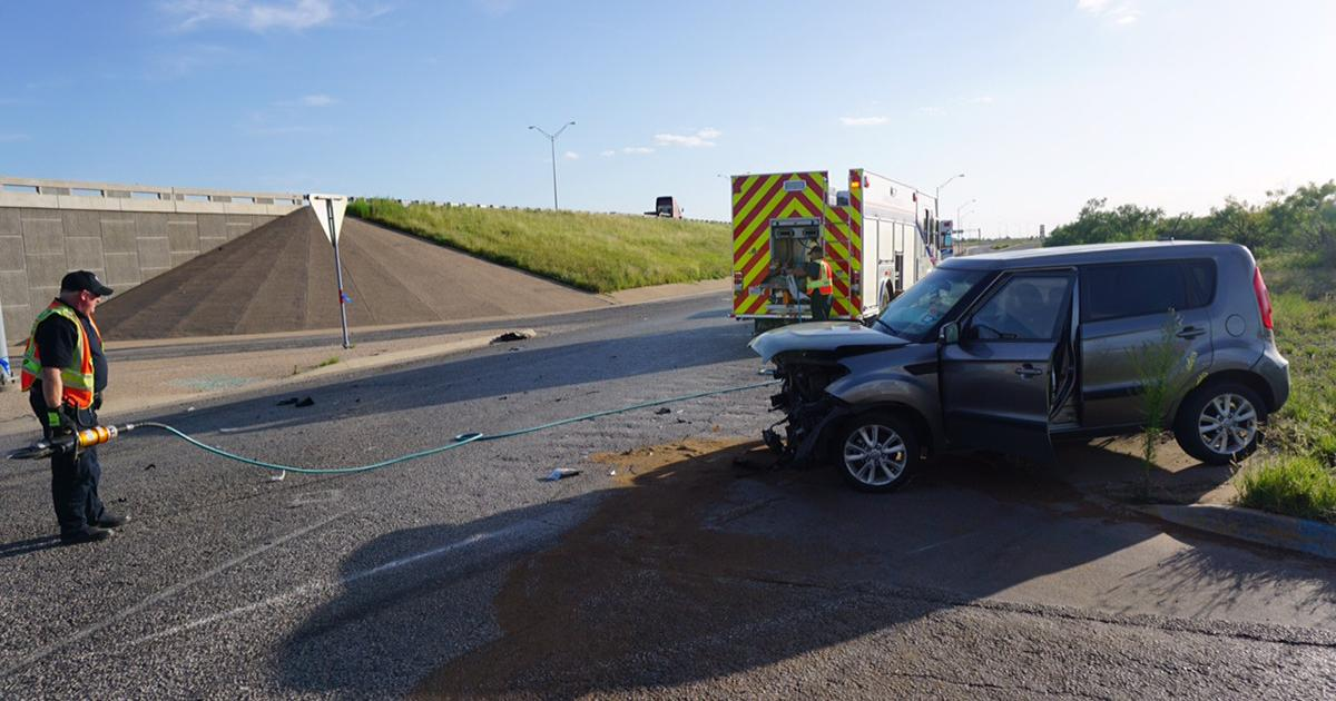 The kia Soul involved in the crash at Smith Blvd. at U.S. 67 frontage on July 10, 2015. (LIVE! Photo/John Basquez)