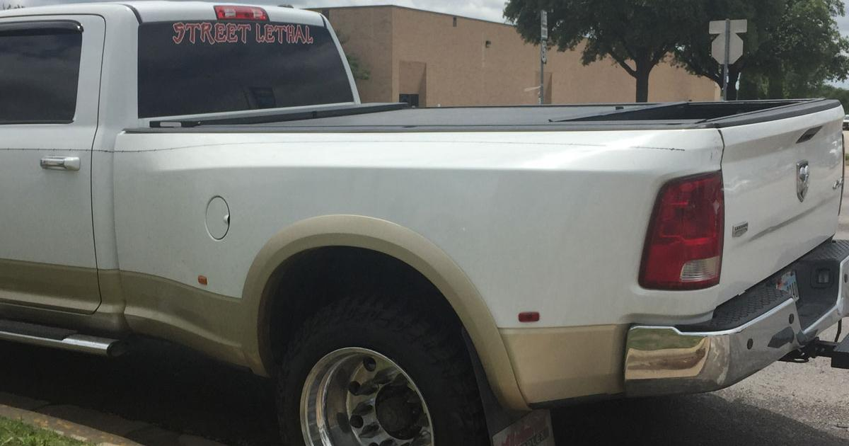 """Street Lethal"" Dodge dually clobbers mailman. (LIVE! Photo/Megan Holmquest)"