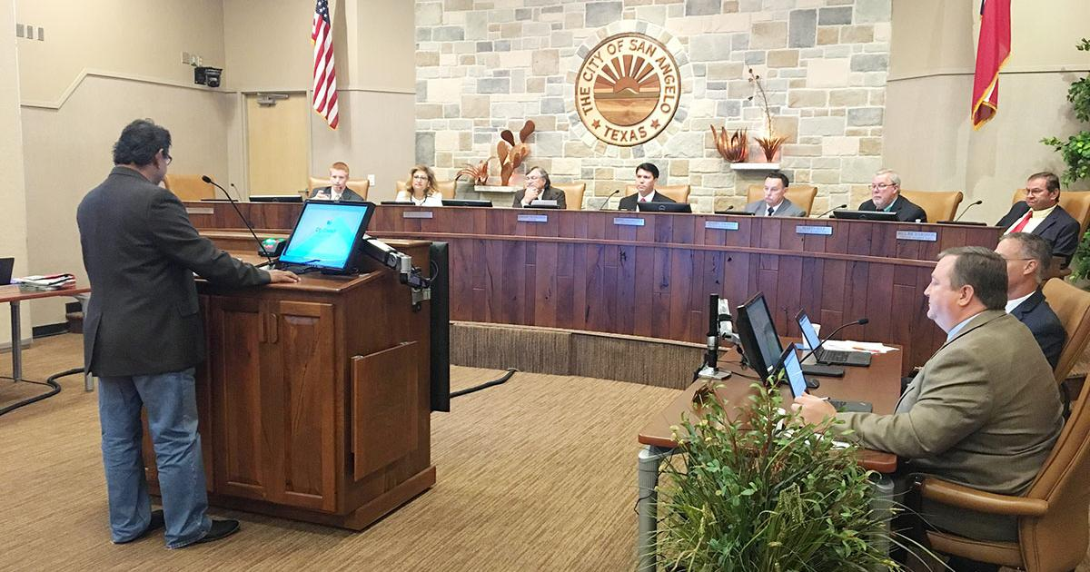 Trinidad Aguirre addresses city council. (LIVE! Photo/Cameron Niblock)