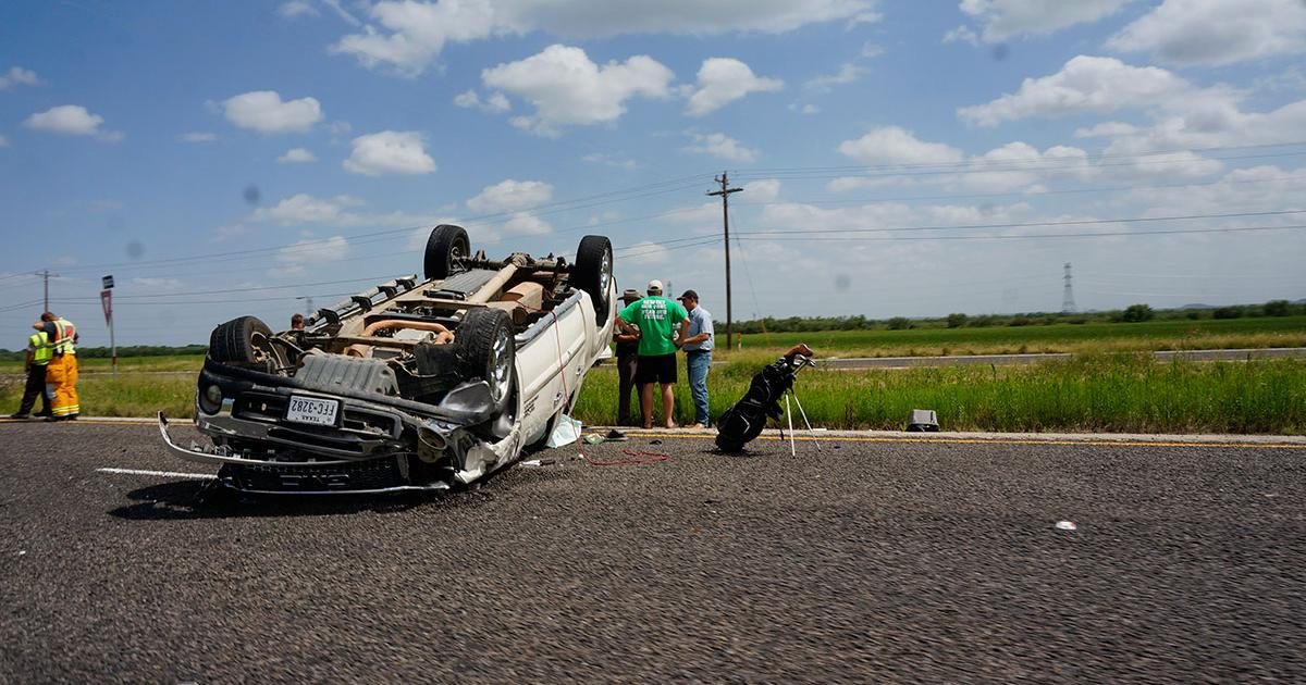Rollover crash on U.S> 87 at March Rd. on July 5, 2015. (LIVE! PHoto/John Basquez)