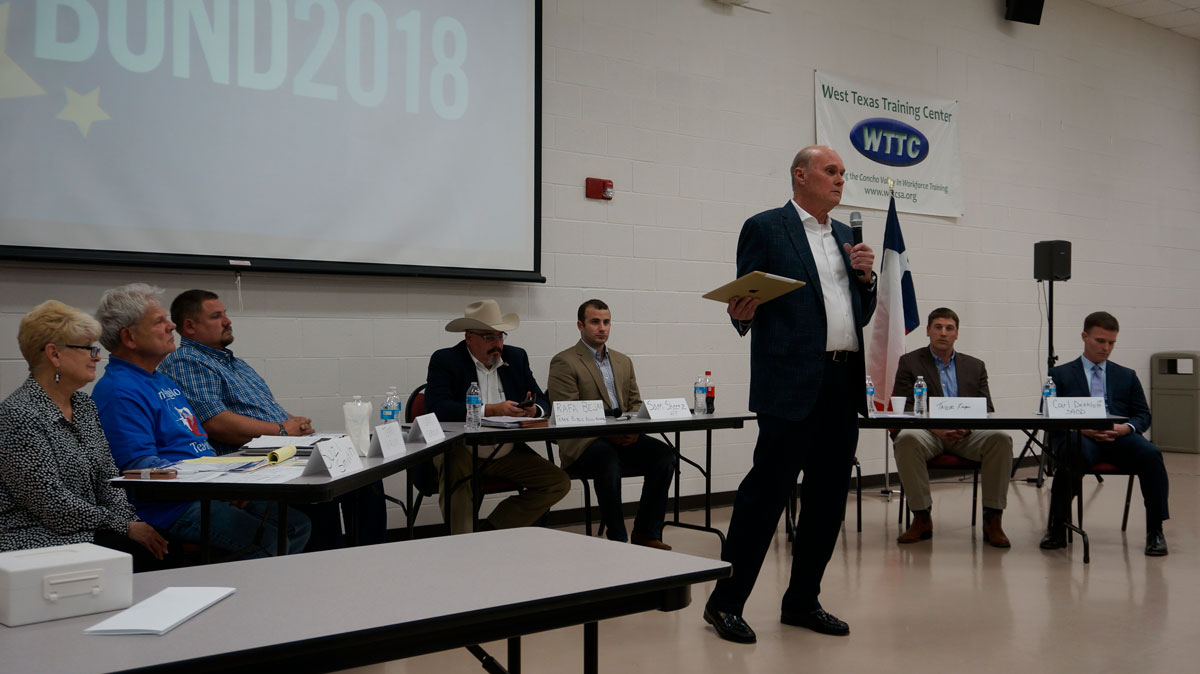 San Angelo ISD School Board Trustee Bill Dendle at the panel of experts at the San Angelo Tea Party meeting on April 10, 2018. (LIVE! Photo/Joe Hyde)
