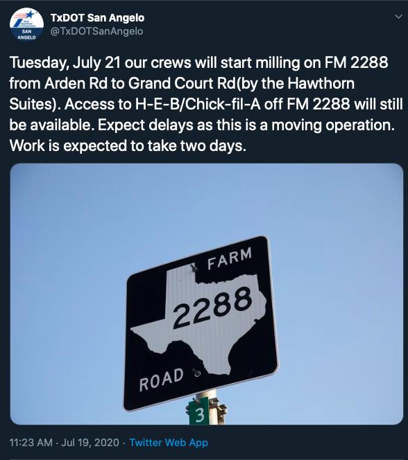 TxDOT San Angelo Project Announcement