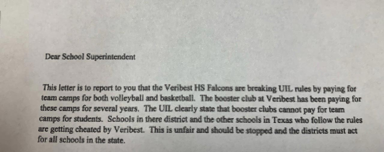 Anonymous letter sent to area school districts accusing Veribest ISD of breaking UIL rules.