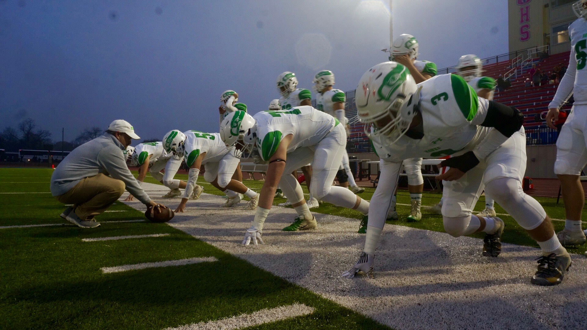 The Wall Hawks prepare for the game just prior to facing the Pilot Point Bearcats for the 2019 regional playoff game at Newton Field in Graham, Texas on Nov. 29, 2019. (LIVE! Photo/Joe Z. Hyde)